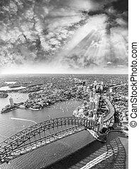 オーストラリア, 航空写真, 港, シドニー, 橋, 光景