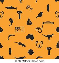 オーストラリア, eps10, 国, seamless, シンボル, 主題, パターン