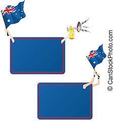 オーストラリア, flag., フレーム, 2, セット, メッセージ, スポーツ