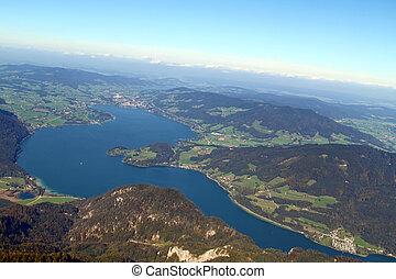 オーストリア, 光景, の, 山の ヒツジ, mondsee