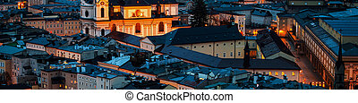 オーストリア, 光景, 航空写真, ザルツブルグ, 夜