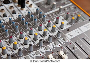 オーディオ, スタジオ, 健全な ミキサー, イコライザ, 板, コントロール