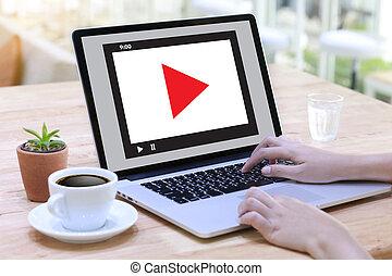 オーディオ, ビジネス, 市場, 対話型である, チャネル, ビデオ, 革新, 媒体, 概念, 技術, マーケティング