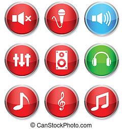 オーディオ, ラウンド, icons.