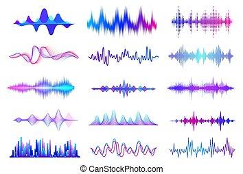 オーディオ, 音楽, signal., 音, 波形, 波, ベクトル, インターフェイス, 頻度, waves., ...