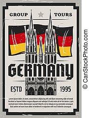 オーデコロン, ポスター, cathedral., ドイツ, 旅行