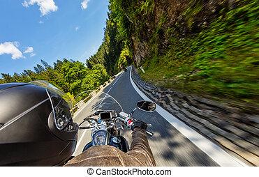 オートバイの細部, handlebars., 屋外, 写真撮影, 高山, 風景