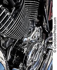 オートバイ, エンジン, クローズアップ, ∥ように∥, 背景