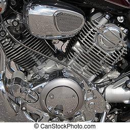 オートバイ, エンジン, クローズアップ