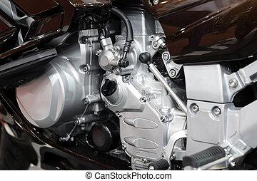 オートバイ, エンジン, クローズアップ, 細部