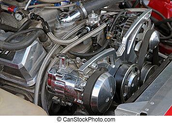 オートバイ, エンジン, クローズアップ, 細部, 背景