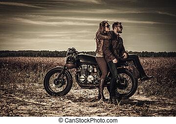 オートバイ, 型, 恋人, 若い, 習慣, フィールド, レーサー, 流行, カフェ
