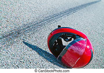 オートバイ, accident., スリップ, 印, 上に, 道交通, accident.
