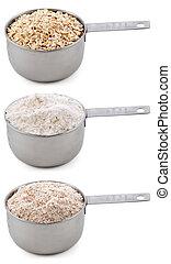 オートムギ, wheatmeal, 小麦粉, 原料, 回転した, 平野, カップ, -, 隔離された, ステープル, ...