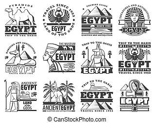 カイロ, エジプト, アイコン, 旅行