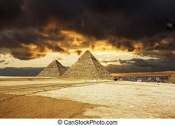 カイロ, エジプト, ピラミッド, 背景, 日没, ギザ