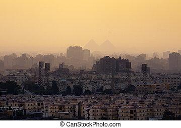 カイロ, スカイライン, 都市, ピラミッド