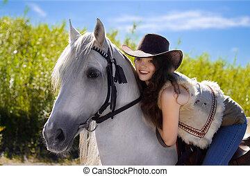 カウガール, 微笑, 馬, 白, 若い