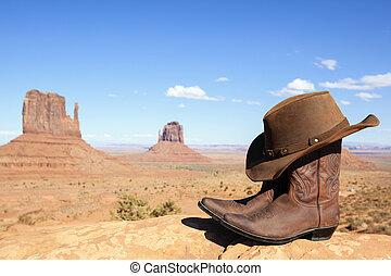 カウボーイブーツ, そして, 帽子, の前, モニュメント峡谷