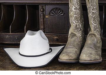 カウボーイ帽子, そして, ブーツ