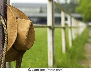 カウボーイ帽子, そして, lasso, 上に, フェンス, アメリカ人, 牧場