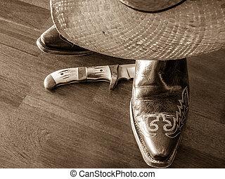 カウボーイ帽子, ブーツ, ナイフ