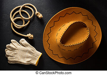 カウボーイ帽子, 上に, 木製である, 背景