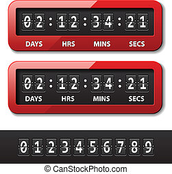 カウンター, -, タイマー, 秒読み, ベクトル, 機械, 赤