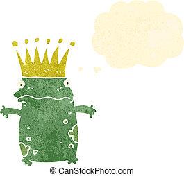 カエル, 漫画 思考, レトロ, 泡, 王子