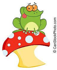 カエル, toadstool, 木