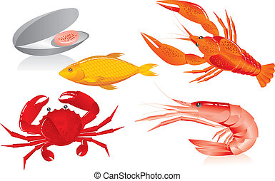 カキ, エビ, ザリガニ, seafood:, fish, カニ