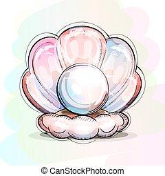 カキ, 真珠, hand-drawn., floor., 海洋