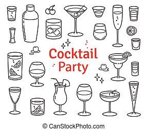 カクテル, セット, アルコール, ベクトル, 飲み物