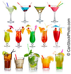 カクテル, 白, セット, アルコール, 隔離された