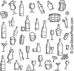 カクテル, 飲料, アルコール, アイコン, スナック