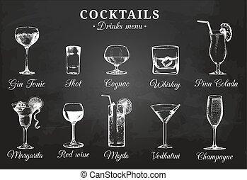 カクテル, beverages., セット, びん, レストラン, アルコール中毒患者, menu., 手, ...