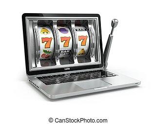 カジノ, オンラインで, 概念, gambling., ラップトップ, スロット, machine.