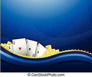 カジノ, ギャンブル, 青い背景, 要素