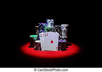 カジノ, テーブル, ギャンブル, エース, チップ, 4, 赤