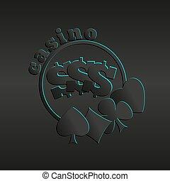 カジノ, 暗い背景, スーツ, ロゴ, カード