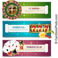 カジノ, 3, セット, 旗, 横