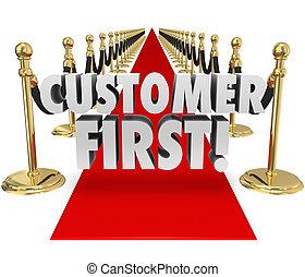 カスタマーサービス, 上, プライオリティ, クライアント, 言葉, カーペット, 赤, 最初に