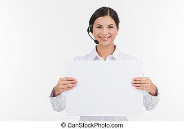 カスタマーサービス, representative., 美しい, 若い, 女性, カスタマーサービスの 代表, 中に,...