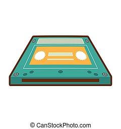 カセット, オーディオ, テープ, 漫画, 音楽