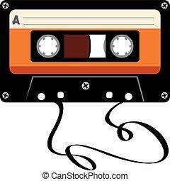 カセット, 傷つけられる, オーディオ, テープ