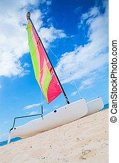 カタマラン, 浜, ボート, 航海