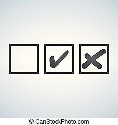 カチカチいいなさい, そして, 交差点, テスト, サイン, セット, 点検, 印, グラフィック, design., 受け入れなさい, ∥あるいは∥, 低下, シンボル, ベクトル, ボタン, ∥ために∥, 投票, 選挙, 選択, web., 黒, 象徴的, オーケー, checkmark, x, アイコン