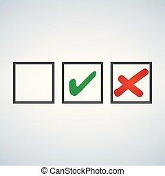 カチカチいいなさい, そして, 交差点, 緑, そして, 赤, テスト, サイン, セット, 点検, 印, グラフィック, design., 受け入れなさい, ∥あるいは∥, 低下, シンボル, ベクトル, ボタン, ∥ために∥, 投票, 選挙, 選択, web., 黒, 象徴的, オーケー, checkmark, x, アイコン