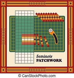 カッター, パッチワーク, パターン, diy, 刃, ロータリー, 定規, 伝統的である, 切断, デザイン, seminole, ストリップ, quilters, マット, 小片, フレーム