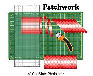 カッター, パッチワーク, パターン, diy, 刃, ロータリー, 定規, 伝統的である, 切断, デザイン, seminole, ストリップ, quilters, マット, 小片
